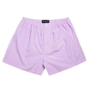 Lilac Bold Check Poplin Boxer Shorts