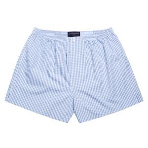Sky Bold Check Poplin Boxer Shorts