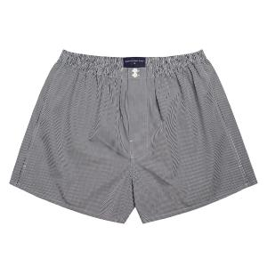 Black Gingham Check Poplin Boxer Shorts