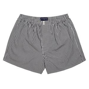 Black Bold Check Poplin Boxer Shorts