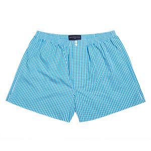 Aqua Bold Check Poplin Boxer Shorts