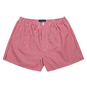 Red Bold Check Poplin Boxer Shorts