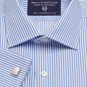 Sky Chelsea Stripe Twill Men's Shirt Available in Four Fits